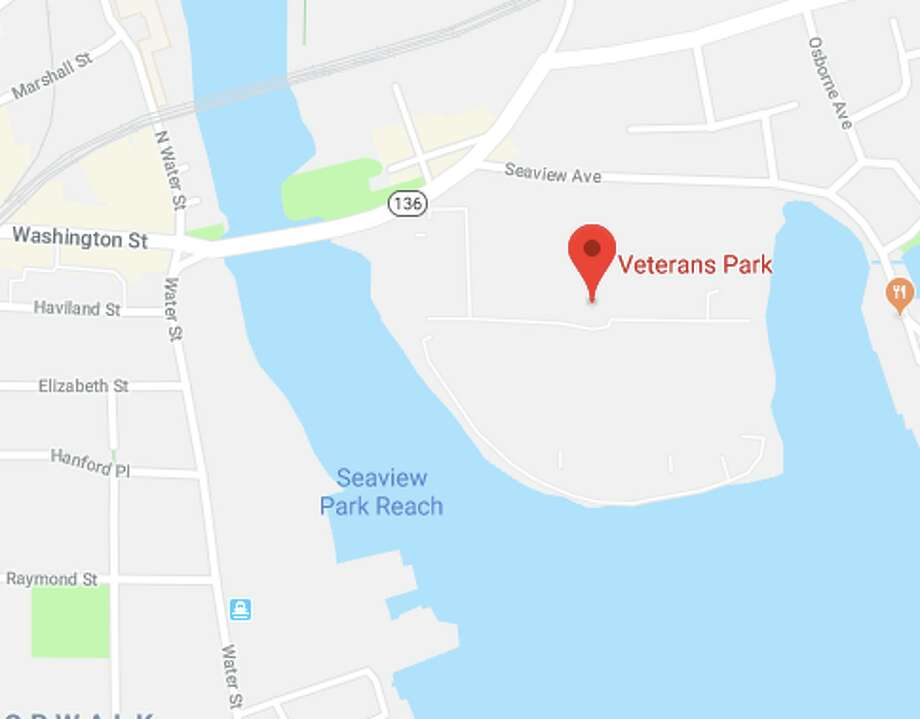 Norwalk police responded to a two-car crash at Veteran's Memorial Park and Marina on Wednesday, April 4. Photo: Google Maps