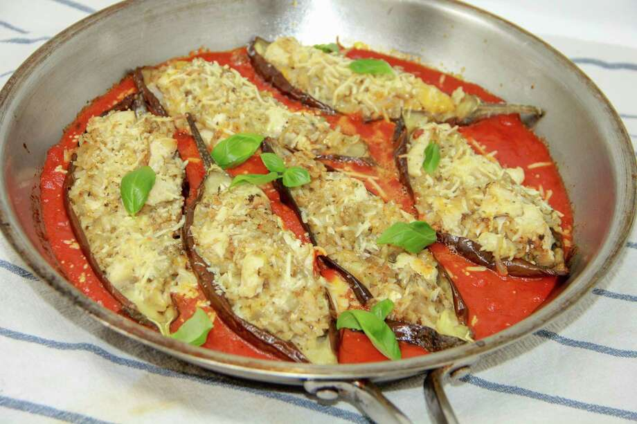 This March 22, 2018 photo shows eggplant and chicken marinara in Bethesda, Md. This dish is from a recipe by Melissa d'Arabian. (Melissa d'Arabian via AP) Photo: Melissa D'Arabian / Melissa d'Arabian