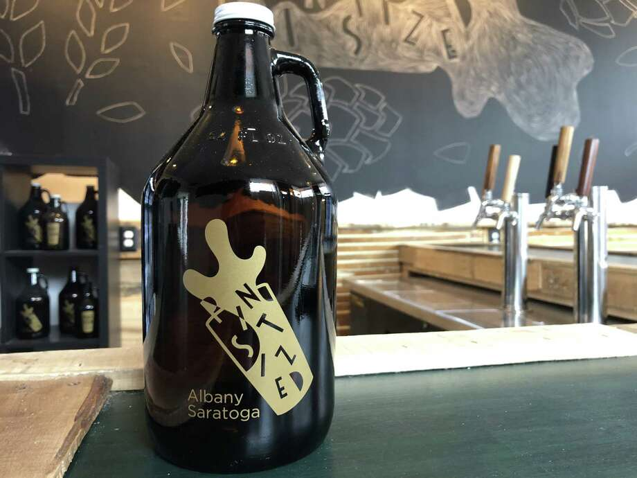 A growler on the bar at the new Pint Sized bar and bottle shop in Albany. It opens Friday. (Photo courtesy Pint Sized.)