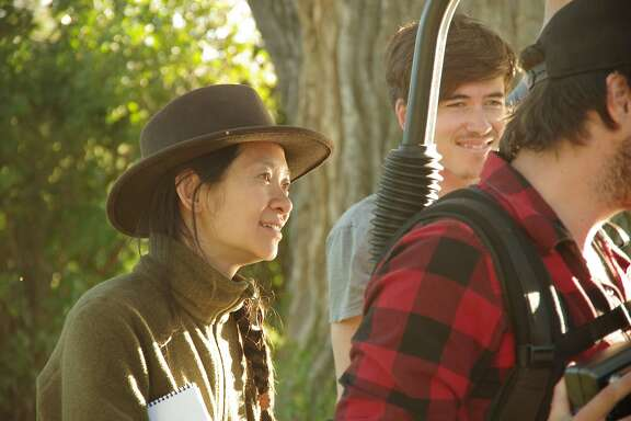 "Writer/Director Chlo� Zhao on the set of her new film ""The Rider""Credit: Courtesy of Sony Pictures Classics"