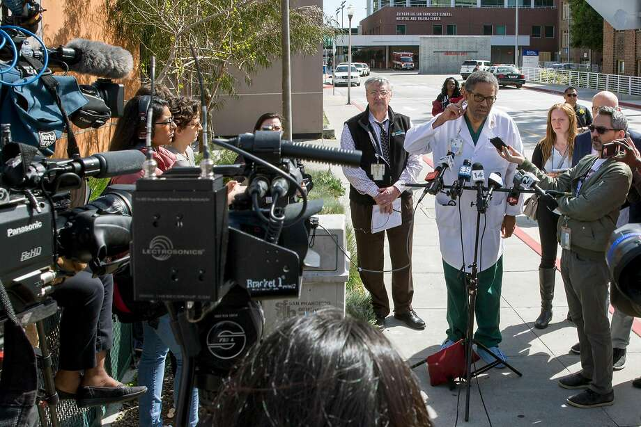 Trauma surgeon Andre Campbell answers questions outside Zuckerberg General Hospital and Trauma Center, Tuesday, April 3, 2018, in San Francisco, Calif. Police responded to a report of an active shooter at YouTube headquarters in the city of San Bruno. Three victims were transported to S.F. General Hospital. Photo: Santiago Mejia / The Chronicle