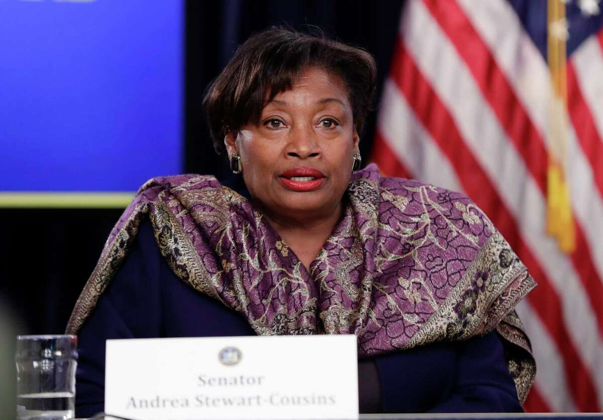 Senate Democratic Conference Leader Andrea Stewart-Cousins, D-Yonkers, speaks during a news conference Wednesday, April 4, 2018, in New York.
