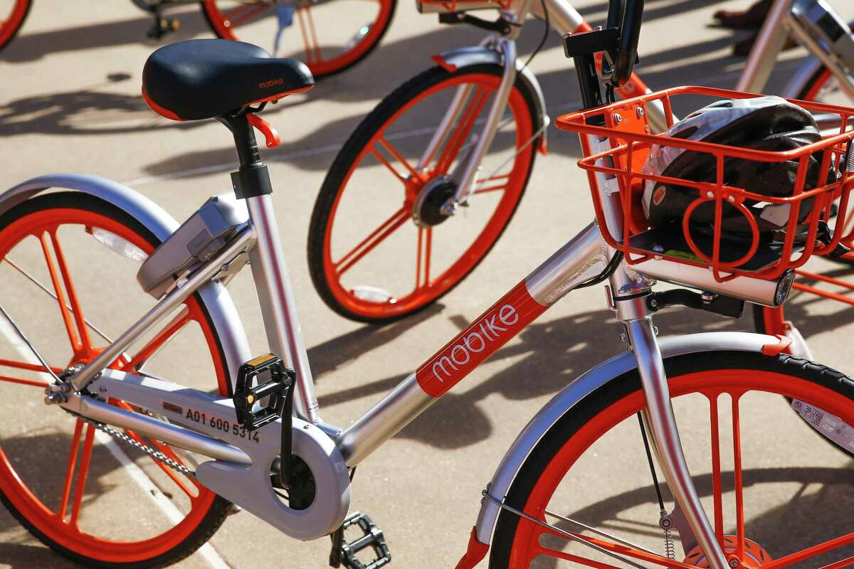 The Woodlands introduced the new dockless bike sharing program, MoBike, at Town Green Park Friday, Jan. 5, 2018. The bikes, which did not need to be returned to a specific location at the end of a users ride and can be unlocked by a new user with phone app, are not operating in the township anymore after the company mysteriously ceased operations with no notice. (Michael Ciaglo / Houston Chronicle)