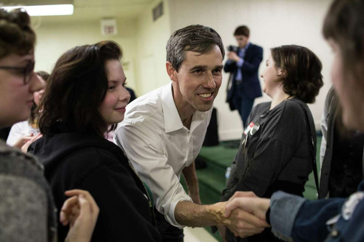 U.S. Rep. Beto O'Rourke, the Democratic nominee for U.S. Senate, greets supporters at the Brandon Community Center after a town hall event in Lufkin on Feb. 9, 2018. (Tamir Kalifa/The New York Times)