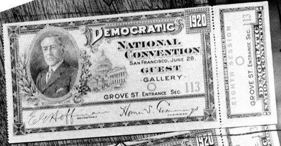 A ticket to the 1920 Democratic National Convention in San Francisco. Photo: Eric Luse / The Chronicle