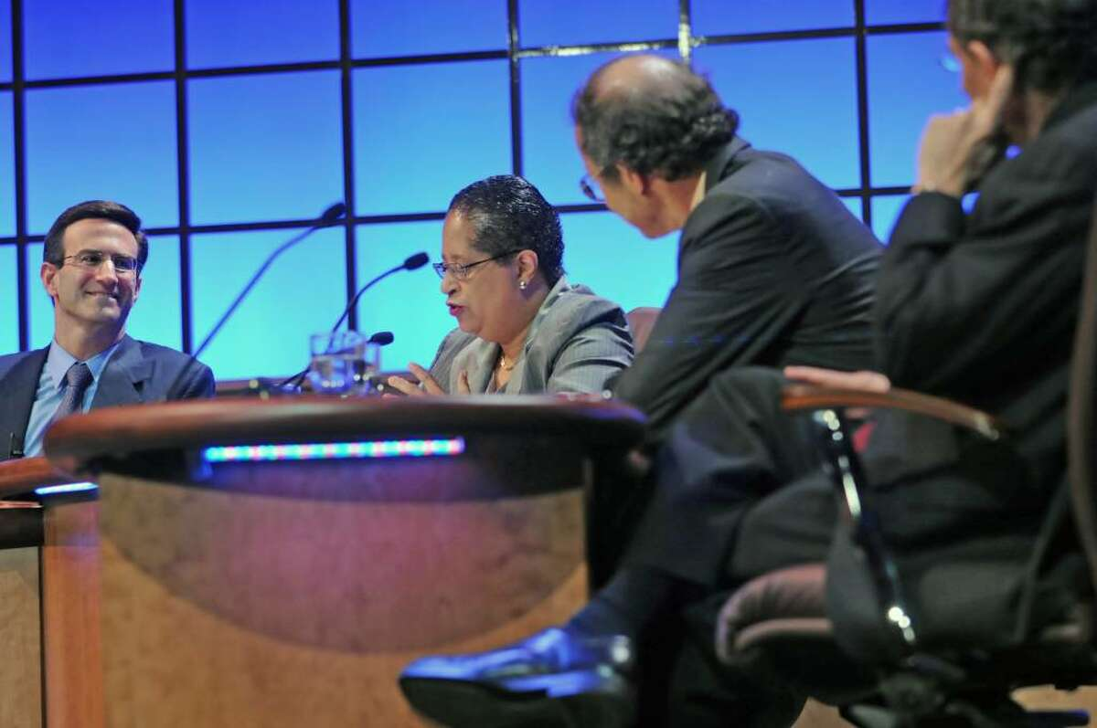 """From left, Peter R. Orszag, PH.D., Shirley Jackson, PH.D., President of RPI, Harold E. Varmus, M.D., and Robert S. Langer, SC.D. talk on a panel at EMPAC at RPI in Troy, NY on May 28, 2010. For story about President's Commencement COLLOQUY, """"Re-Igniting the Innovation Economy: Science and Technology."""" (Lori Van Buren / Times Union)"""