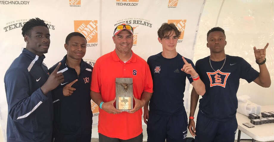 The Seven Lakes relay team of Thomas Pratt, Lance Broome, Chris Williams and Jahquan Bloomfield ran a 40.88 to win the 400-meter relay at the 91st Clyde Littlefield Texas Relays in Austin. They also took the silver medal in the 800 relay. Photo: Seven Lakes High School