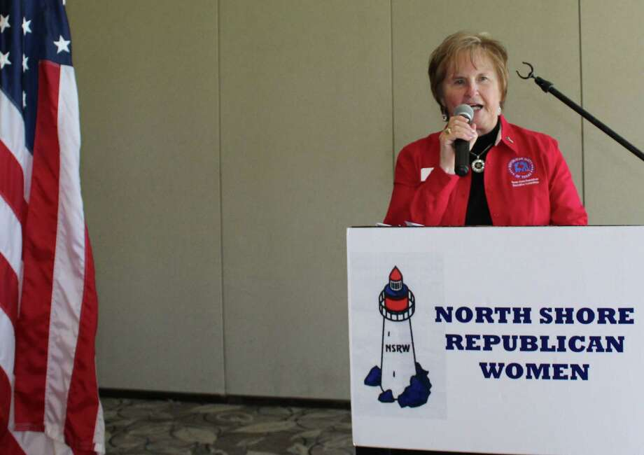 The North Shore Republican Women applauded outgoing Texas Federation of      Republican Women Senate District 3 Director Judy Parada during the monthly      luncheon Wednesday at the Bentwater Country Club in Montgomery. Photo: Meagan Ellsworth