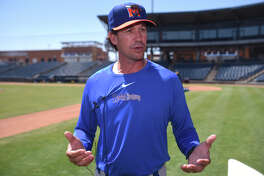 RockHounds manager Scott Steinmann speaks to the media during practice April 4, 2018, at Security Bank Ballpark. James Durbin/Reporter-Telegram