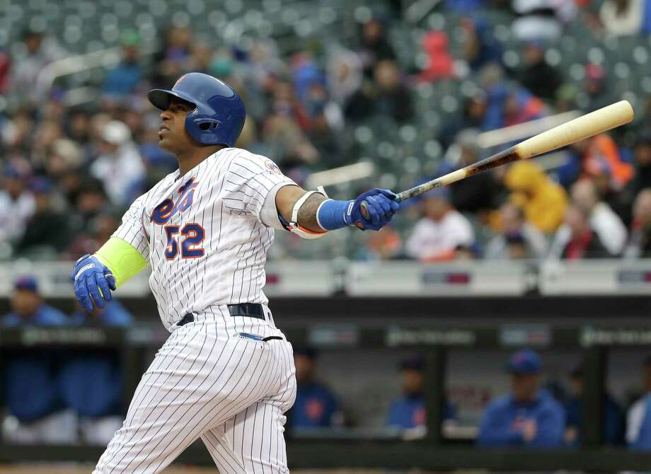 New York Mets' Yoenis Cespedes watches his two-run home run during the first inning of the baseball game against the Philadelphia Phillies at Citi Field, Wednesday, April 4, 2018, in New York. (AP Photo/Seth Wenig) Photo: Seth Wenig / AP