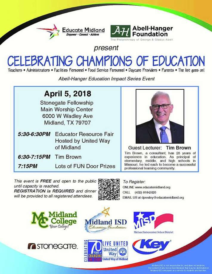 The Abell-Hanger Foundation presents its next Education Impact Series Event – Celebrating Champions of Education –   5:30 p.m. today at Stonegate Fellowship.
