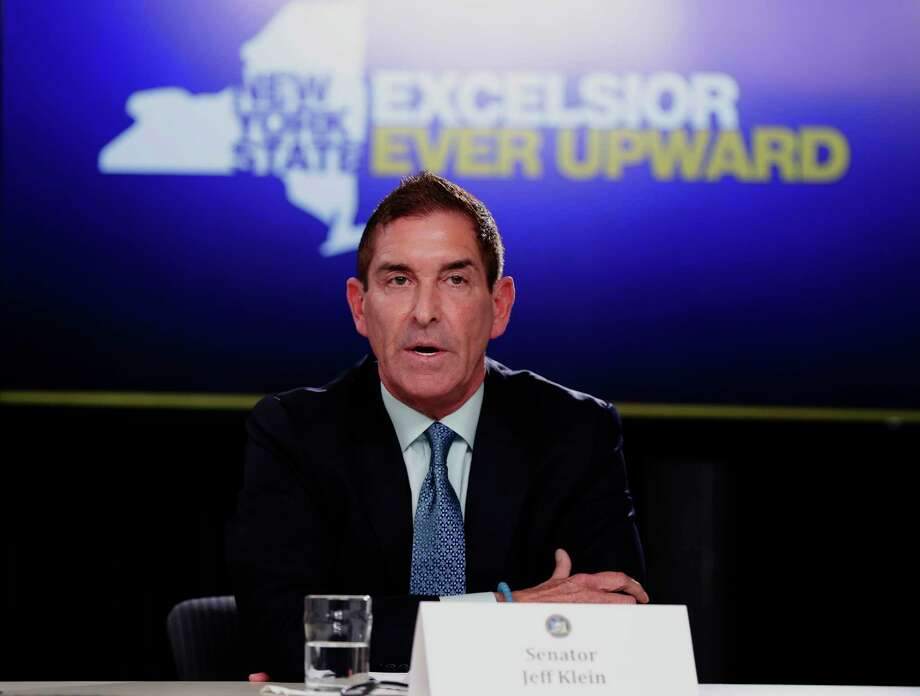 New York Independent Democratic Conference Leader Sen. Jeff Klein, D-Bronx, right, Wednesday, April 4, 2018, in New York. (AP Photo/Frank Franklin II) Photo: Frank Franklin II / Copyright 2018 The Associated Press. All rights reserved.