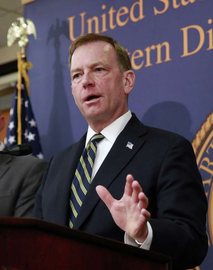 McGregor Scott, right, the United States attorney for the Eastern District of California, discusses Wednesday the months-long investigation that led to raids on illegal pot grows in roughly 100 Northern California homes. Photo: Rich Pedroncelli, STF / Associated Press / Copyright 2018 The Associated Press. All rights reserved.