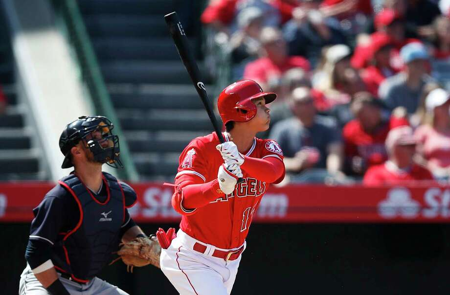 Los Angeles Angels' Shohei Ohtani, of Japan, watches his two-run home run during the fifth inning of a baseball game against the Cleveland Indians on Wednesday, April 4, 2018, in Anaheim, Calif. (AP Photo/Jae C. Hong) Photo: Jae C. Hong / Copyright 2018 The Associated Press. All rights reserved.