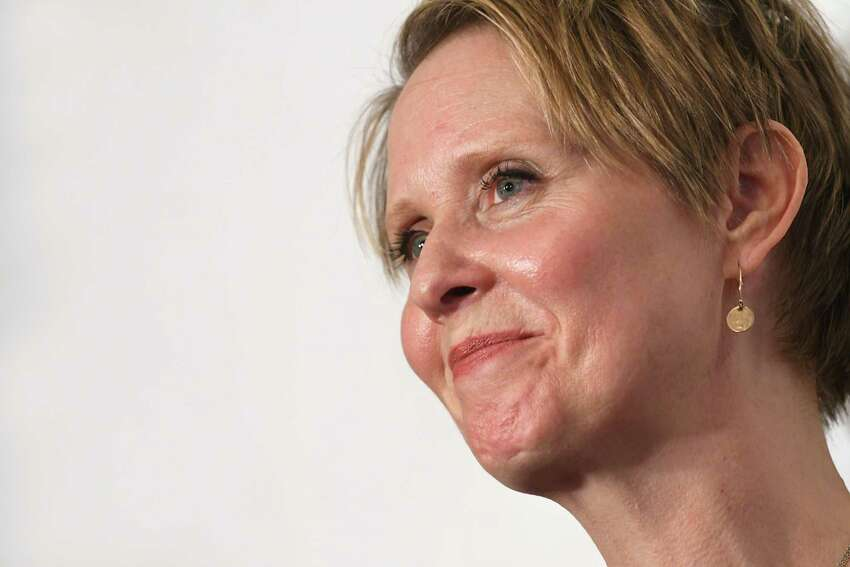 Gubernatorial candidate Cynthia Nixon answers questions from the press at the Delaney Hotel on Wednesday, April 5, 2018 in Hoosick Falls, N.Y. Nixon and former U.S. Environmental Protection Agency Regional Administrator Judith Enck answered questions from residents who were affected by their water supplies being polluted with a toxic manufacturing chemical four years ago. (Lori Van Buren/Times Union)