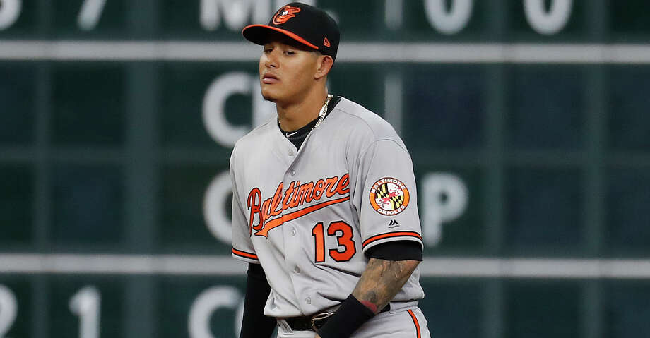 Baltimore Orioles shortstop Manny Machado (13) walks out to postion on the field during the first inning an MLB baseball game at Minute Maid Park, Tuesday, April 3, 2018, in Houston.   ( Karen Warren / Houston Chronicle ) Photo: Karen Warren/Houston Chronicle