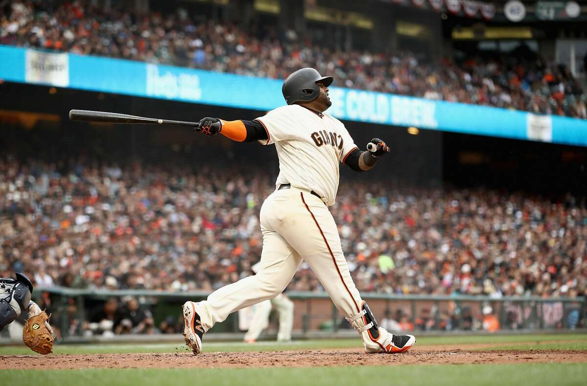 SAN FRANCISCO, CA - APRIL 04: Pablo Sandoval #48 of the San Francisco Giants hits a three-run home run in the fifth inning against the Seattle Mariners at AT&T Park on April 4, 2018 in San Francisco, California. (Photo by Ezra Shaw/Getty Images)
