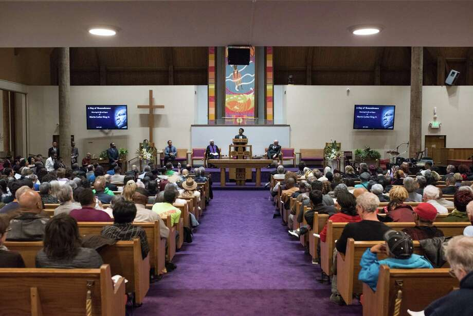 "Garfield High School student Chandler Williams speaks about his experience at the ""March for Our Lives"" in D.C. last month during a ceremony remembering and honoring the legacy of Rev. Dr. Martin Luther King Jr. on the 50th anniversary of his assassination, on Wednesday, April 4, 2018 at Mount Zion Baptist Church in Seattle. Photo: GRANT HINDSLEY, SEATTLEPI.COM / SEATTLEPI.COM"