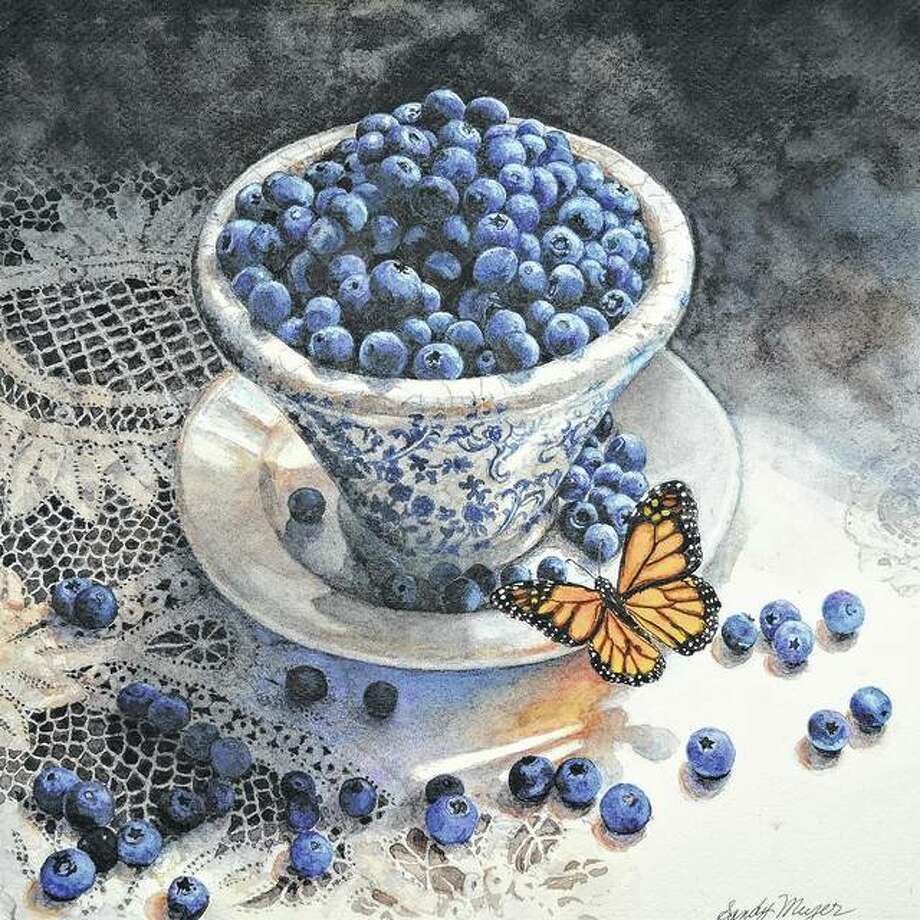 "Sandy Meyer's ""Blueberries and Butterfly"" was inspired by her western Michigan home, where she says blueberry farms abound. Photo: Photo Provided"