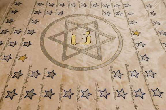 A World War II era banner from Beth Jacob Congregation, is displayed at Rice University Tuesday, March 27, 2018, in Houston.  ( Jon Shapley / Houston Chronicle )