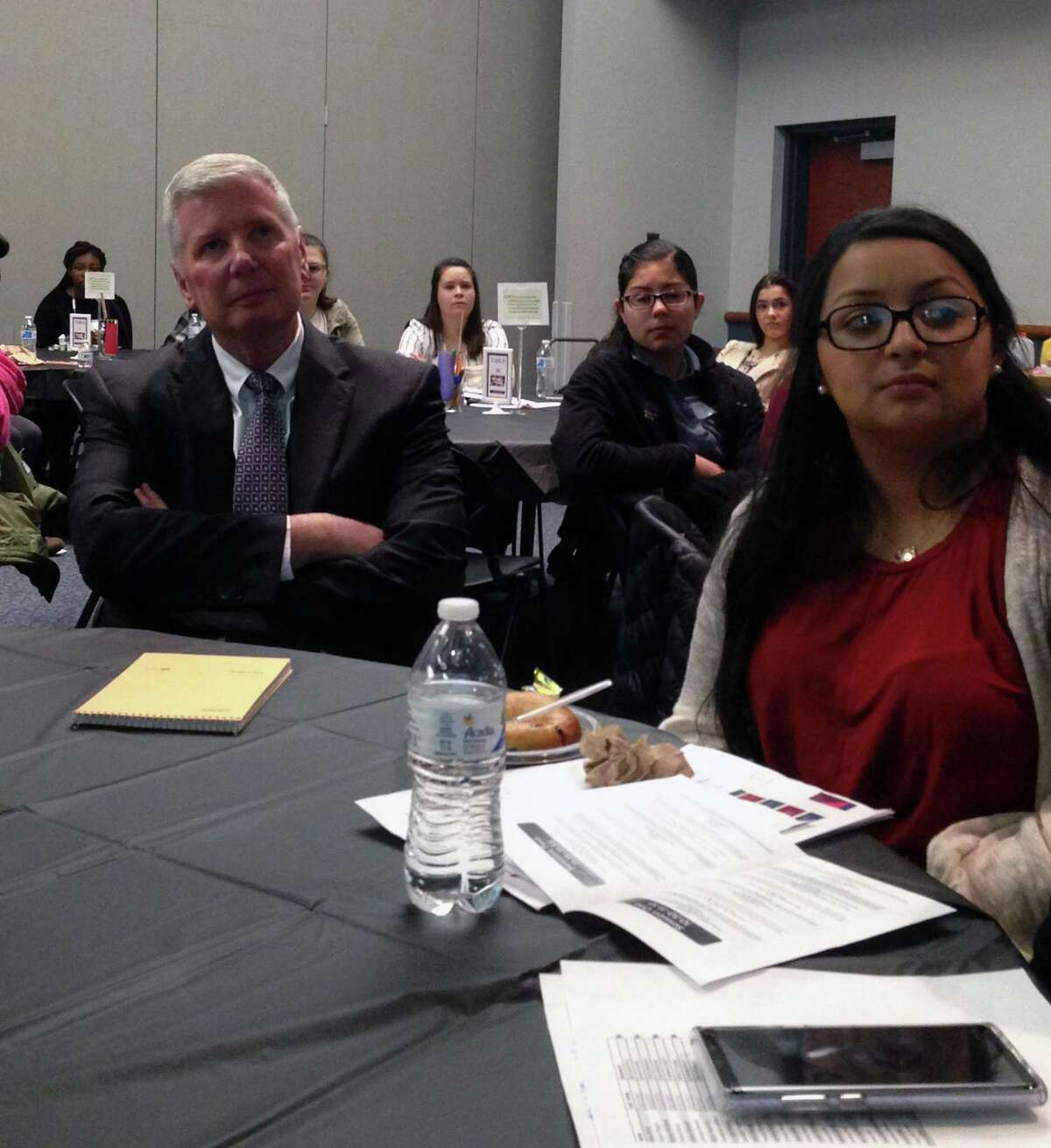 Fairfield Warde Principal David Ebling and student Erika Romero at the Identity and Education Conference, March 29, 2018, at Southern Connecticut University in New Haven, Conn.