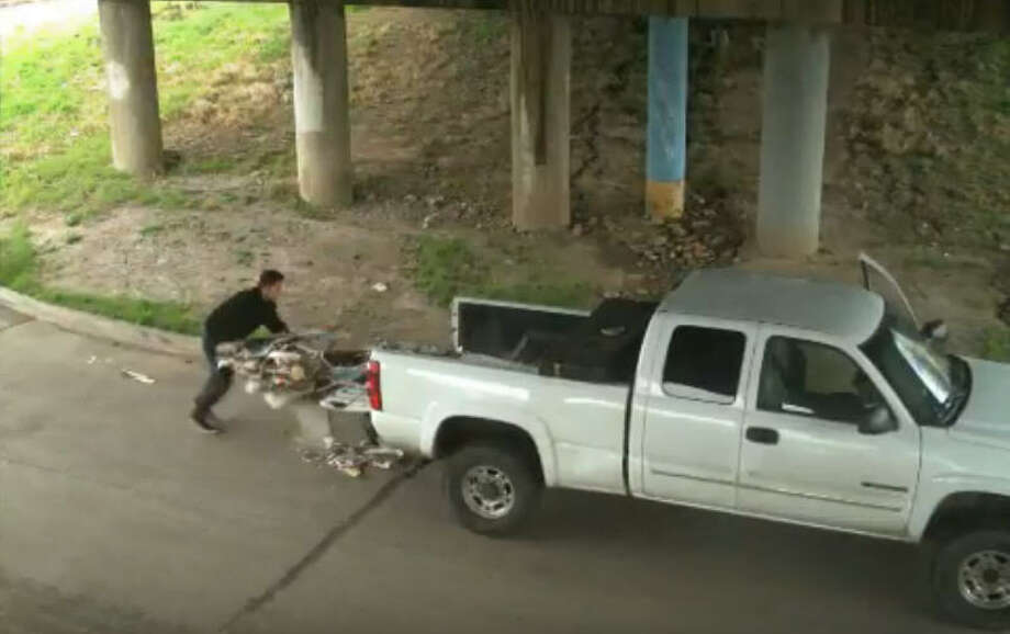 Police are searching for a man who was recorded illegally dumping large piles of debris in the 100 block of Broadway Street in Harris County, Texas on Feb. 3, 2018. Photo: Harris County Precinct 6 Constable's Office