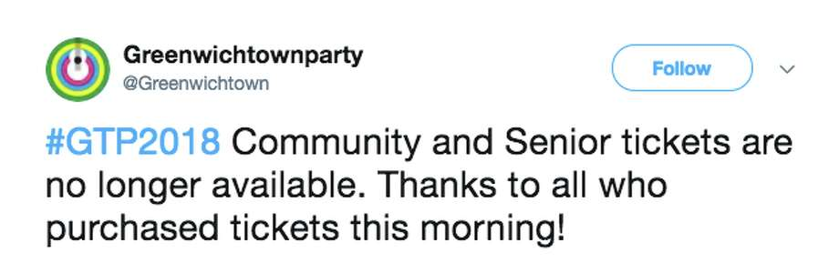 Greenwich residents take to social media after seemingly no one can get tickets to Town Party. Photo: Twitter