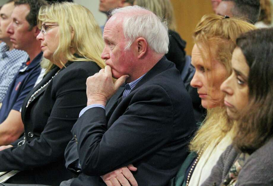 Supt. of Schools Toni Jones and Board of Education members listen to the finance board's budget discussion Tuesday night. The school budget was not cut. Fairfield,CT 4/4/18 Photo: Genevieve Reilly / Hearst Connecticut Media / Fairfield Citizen