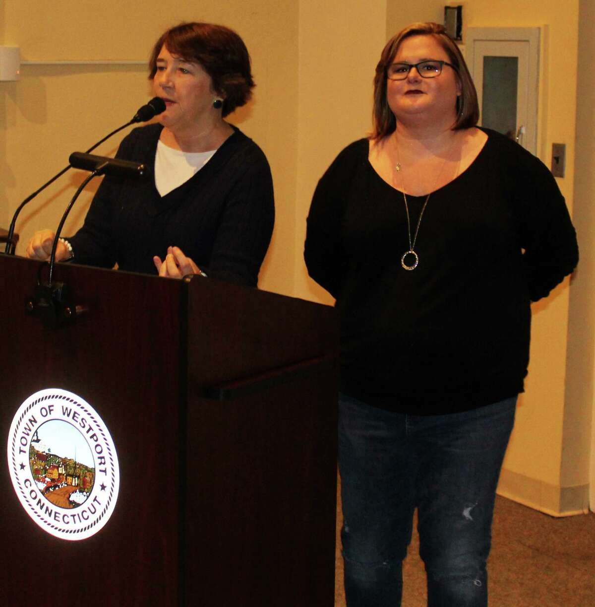 Westport resident Patty Haberstroh spoke at the April 3 Representative Town Meeting in Town Hall about the ALS hot pepper challenge next to her daughter, Kim Haberstroh.