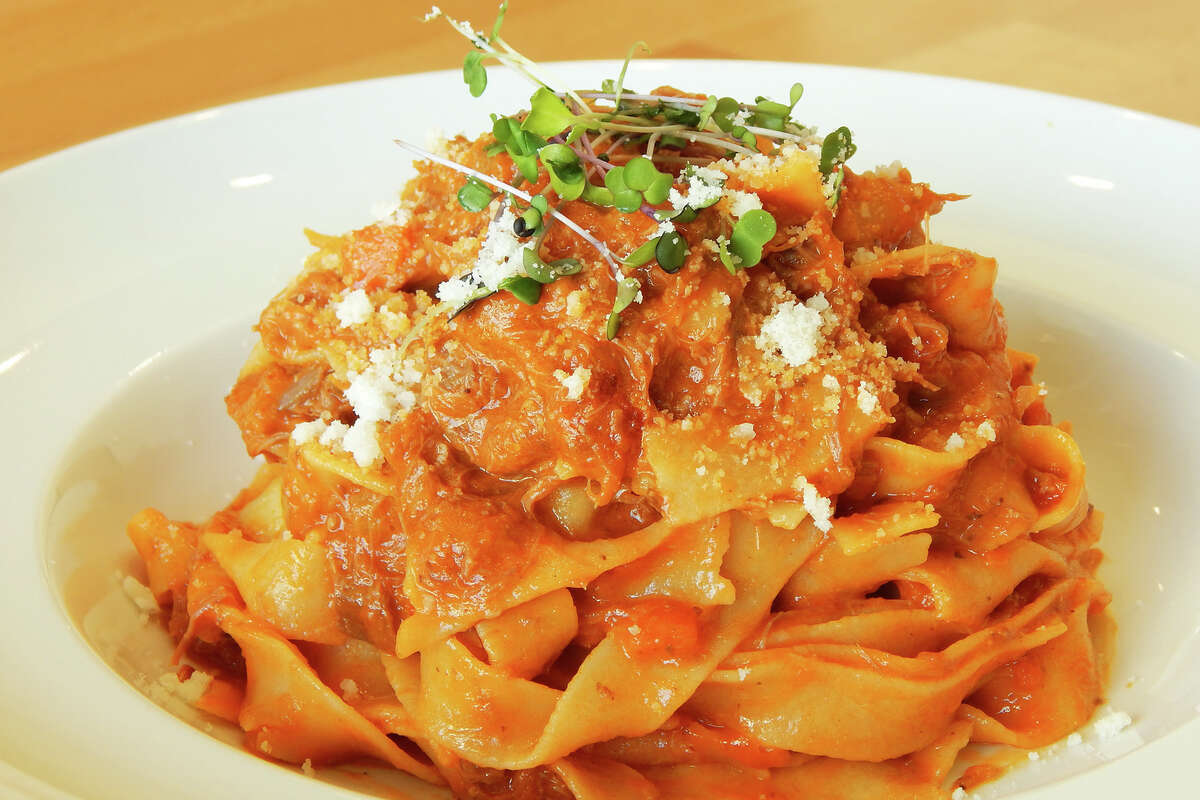 Fettuccine with Texas-raised lamb sauce at Fresco! Cafe Italiano, 3277 Southwest Fwy., from chef Roberto Crescini.
