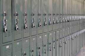 SALINAS, CA - APRIL 20: Student lockers in a hallway at Alisal High School, on Friday April 20, 2012 in Salinas, California. (Photo by Tony Avelar / The Christian Science Monitor via Getty Images)