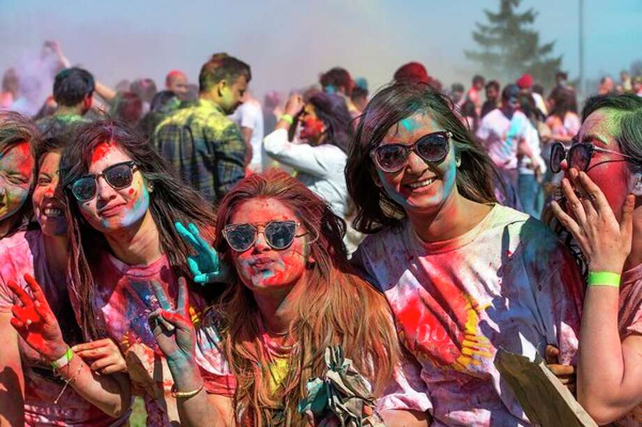 Attendees enjoying the colorful celebration during the 2017 Holi Festival of Colors. This year's celebration is April 21 at SVSU. (Photo provided by Mike Randolph, SVSU)