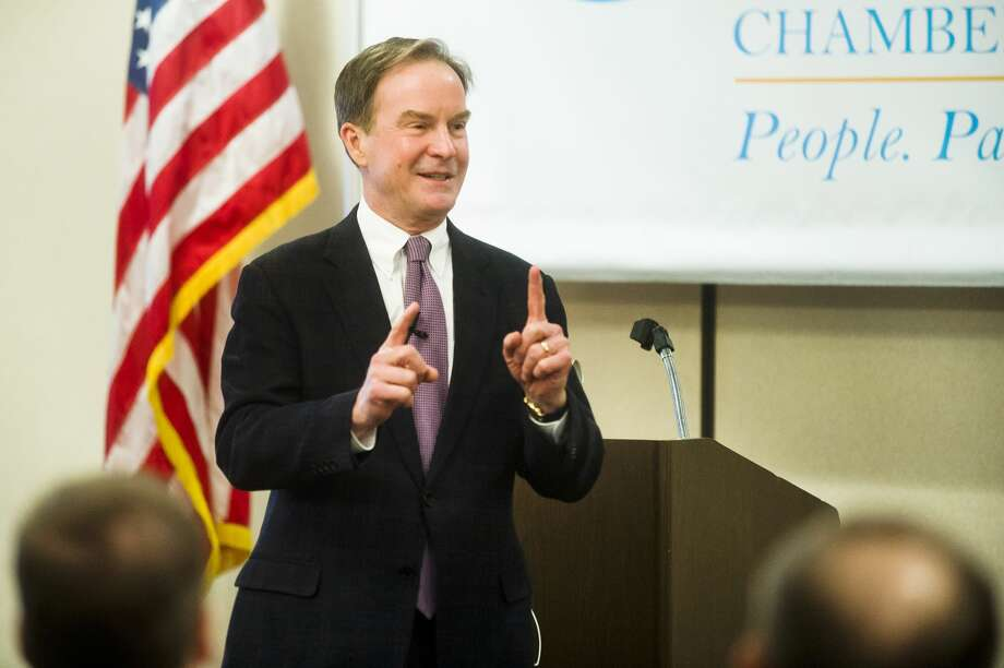 Michigan Attorney General Bill Schuette speaks during the Bay Area Chamber of Commerce's first Leading the Way Speaker Series Luncheon on Thursday, April 5, 2018 at Bay Valley Resort and Conference Center in Bay City. (Katy Kildee/kkildee@mdn.net) Photo: (Katy Kildee/kkildee@mdn.net)