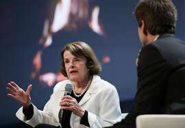 "Senator Diane Feinstein sits down for a ""Fireside Chat"" with Carl Guardino, CEO of the Silicon Valley Leadership Group, during a luncheon sponsored by the group at Juniper Networks on Monday, April 2, 2018, in Sunnyvale, Calif."