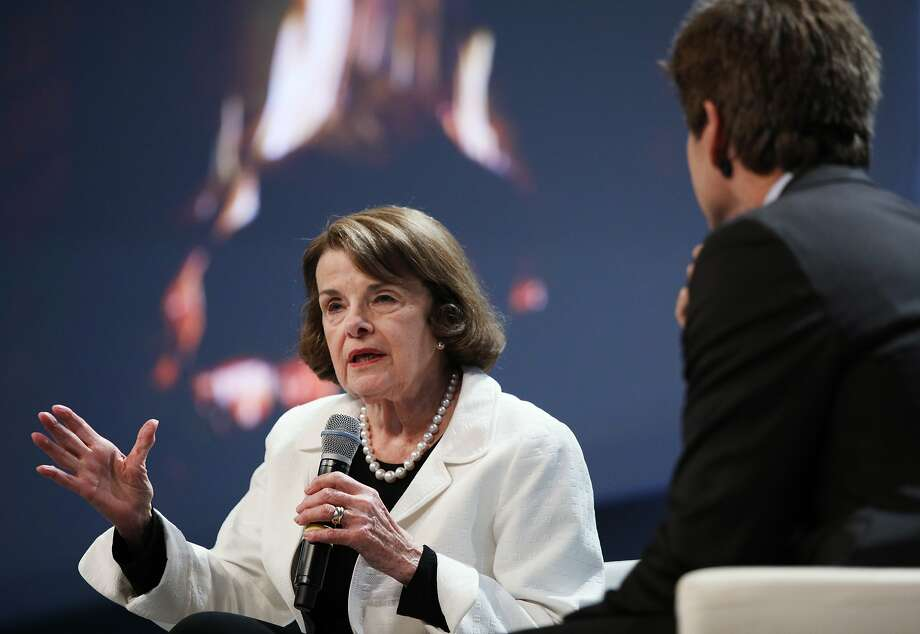 Senator Dianne Feinstein with Carl Guardino, CEO of the Silicon Valley Leadership Group, at an appearance Monday in Sunnyvale. Photo: Jim Gensheimer / Special To The Chronicle