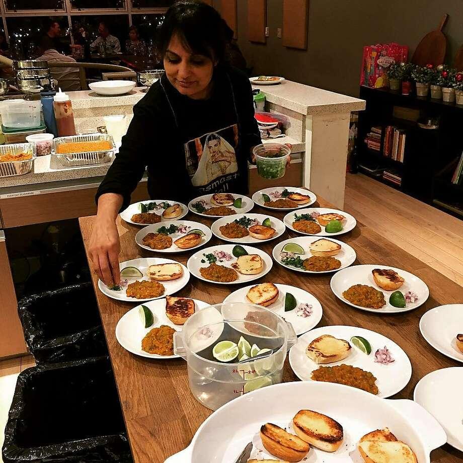 Heena Patel preparing food. Photo: Heena Patel Instagram