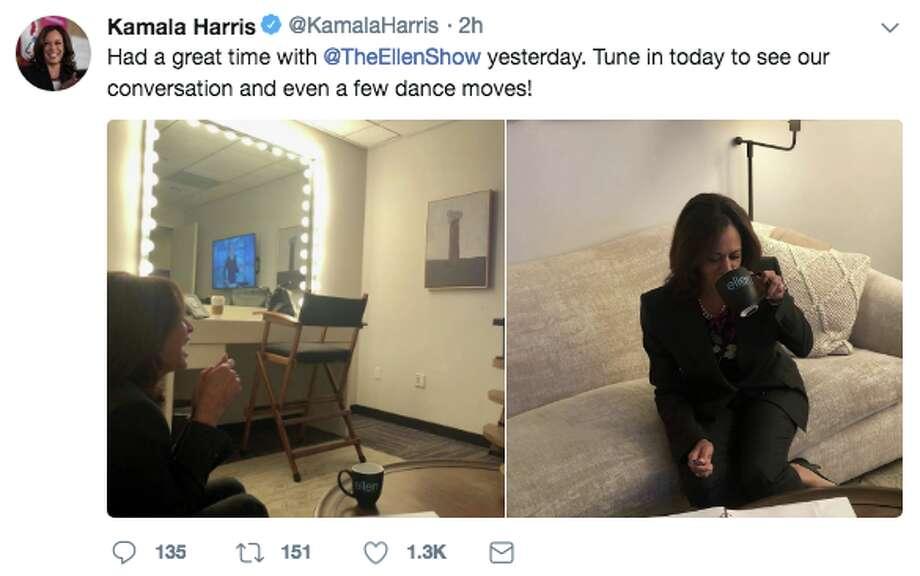 "Sen. Kamala Harris appeared on ""The Ellen Degeneres"" show Thursday, April 5, 2018. Photo: Twitter Screen Grab"