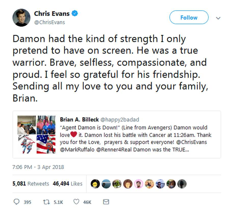 Chris Evans: Damon had the kind of strength I only pretend to have on screen. He was a true warrior. Brave, selfless, compassionate, and proud. I feel so grateful for his friendship. Sending all my love to you and your family, Brian.