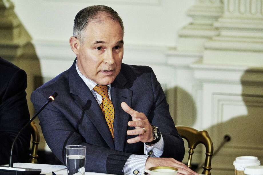 Scott Pruitt, administrator of the Environmental Protection Agency, speaks during an infrastructure initiative meeting with President Donald Trump at the State Dining Room of the White House on Feb. 12, 2018. Photo: Bloomberg Photo By T.J. Kirkpatrick / Bloomberg