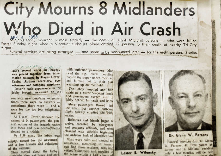 Clippings from the April 8, 1958 issue of the Midland Daily News include photos of Midland residents Lester E. Wilensky, left, and Dr. Glenn W. Parsons, right, who died in a plane crash at Tri-City Airport (now MBS International) that claimed 47 lives on Easter Sunday, April 6, 1958. (Katy Kildee/kkildee@mdn.net) Photo: (Katy Kildee/kkildee@mdn.net)
