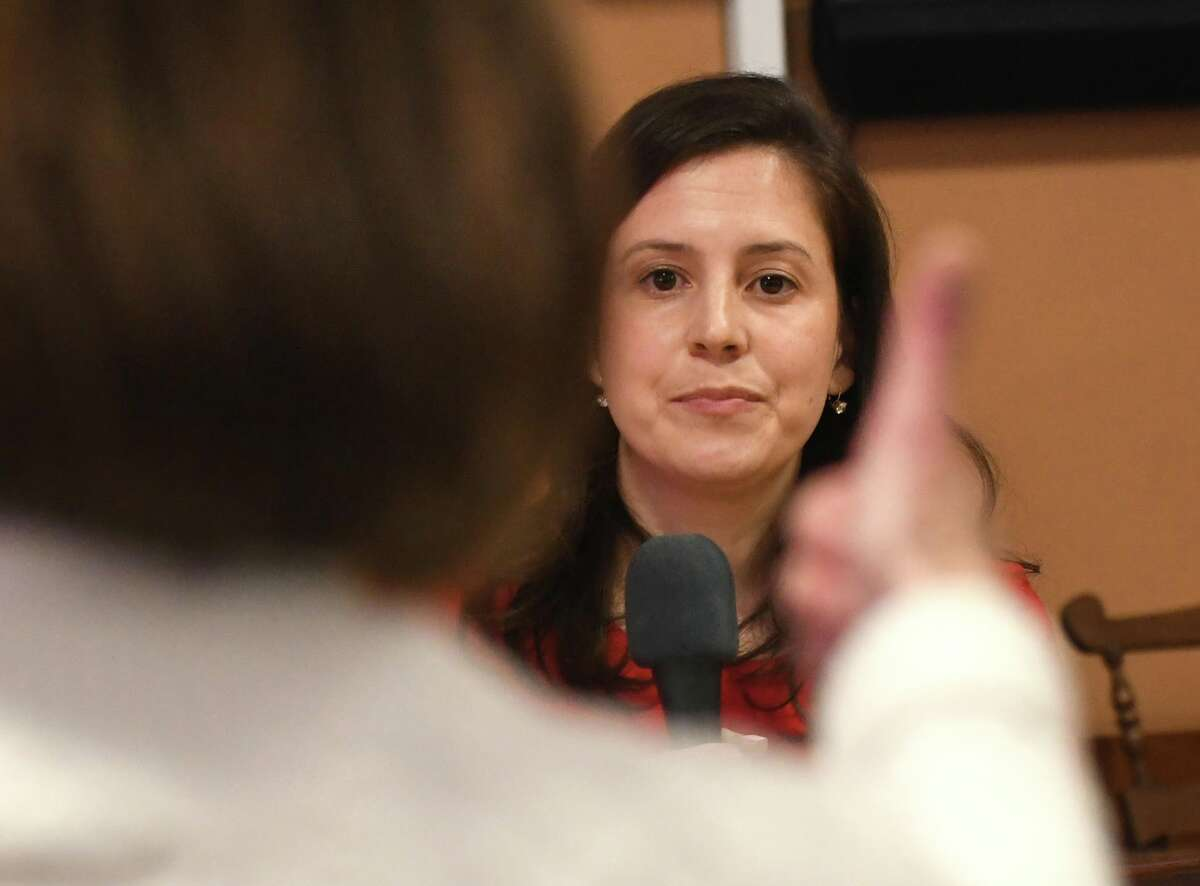 Congresswoman Elise Stefanik listens to a question from Julie Wash of Stillwaterduring a meetingwith constituents in a town-hall style event held at Moreau Community Center on Thursday, April 5, 2018 in South Glens Falls, N.Y. (Lori Van Buren/Times Union)