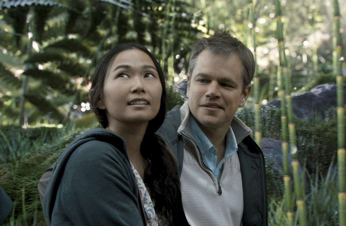 """In this image released by Paramount Pictures, Hong Chau, left, and Matt Damon appear in a scene from """"Downsizing."""" On Monday, Dec. 11, 2017, Chau was nominated for a Golden Globe for best supporting actress in a motion picture for her role in the film. The 75th Golden Globe Awards will be held on Sunday, Jan. 7, 2018 on NBC. (Paramount Pictures via AP)"""