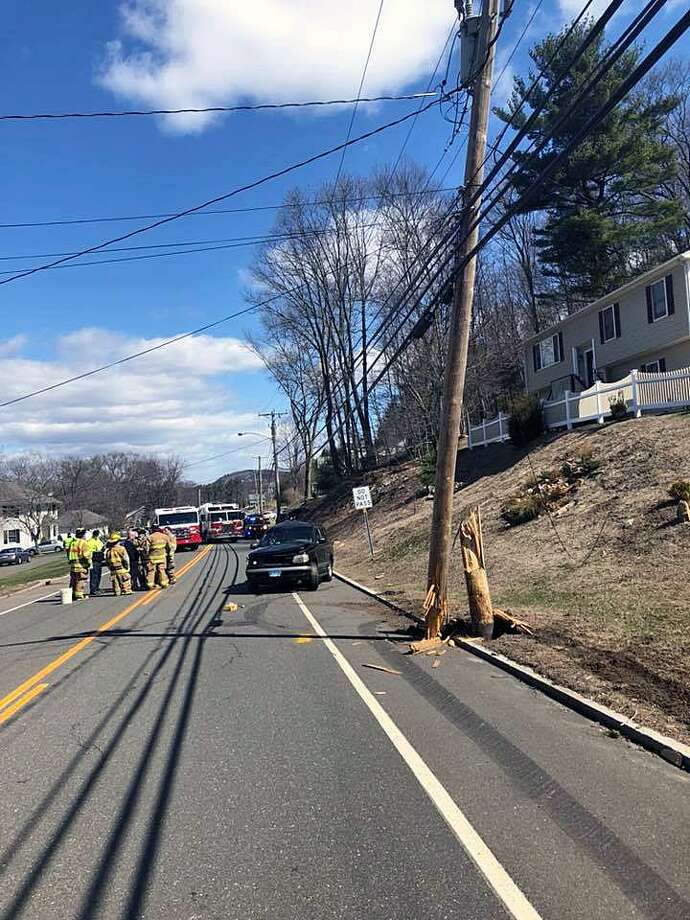 Police reported a crash around 11 a.m. on South Main Street in Seymour, Conn., on April 5, 2018. By 4:15 p.m., the roadway remained closed. Photo: Contributed Photo / Seymour Police Department / Contributed Photo / Connecticut Post Contributed