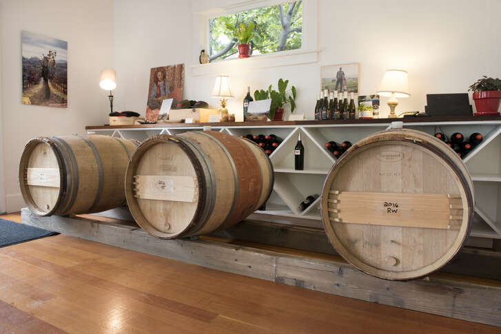 Barrels of wine for tasting are on display at Hawkes Wine's tasting room in Sonoma, Calif., on Sunday March 18, 2018.