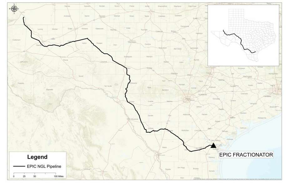This graphic, which was edited for size and detail, shows the first phase of EPIC's NGL pipeline Photo: Map Courtesy EPIC Pipeline