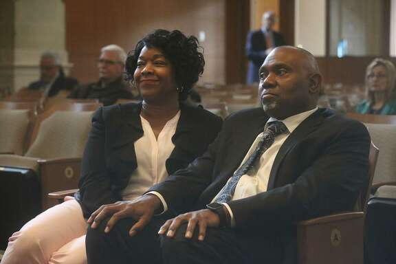 CPS Energy President and CEO Paula Gold-Williams (left) sits with then-board of trustees candidate Willis Mackey. Gold-Williams reiterated Friday that the city-owned utility will not ask for a new rate increase, but said it had studied what a rate increase would look like.