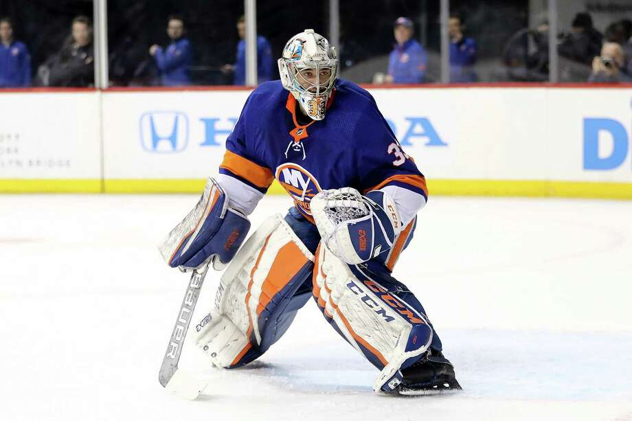 NEW YORK, NY - MARCH 26: Christopher Gibson #33 of the New York Islanders defends the goal in the first period against the Florida Panthers during their game at Barclays Center on March 26, 2018 in the Brooklyn borough of New York City.  (Photo by Abbie Parr/Getty Images) Photo: Abbie Parr / Getty Images / 2018 Getty Images