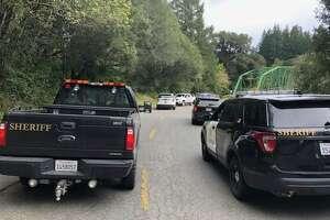 Sheriffs vehicles parked near the Honeydew Bridge arrest scene.