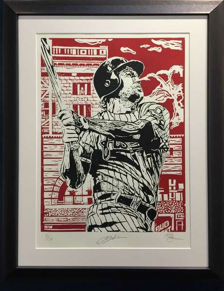 """""""Berkman"""": one of three woodcut-print portraits in Opie Otterstad's show. Photo: Courtesy Of The Artist / Off The Wall Gallery"""