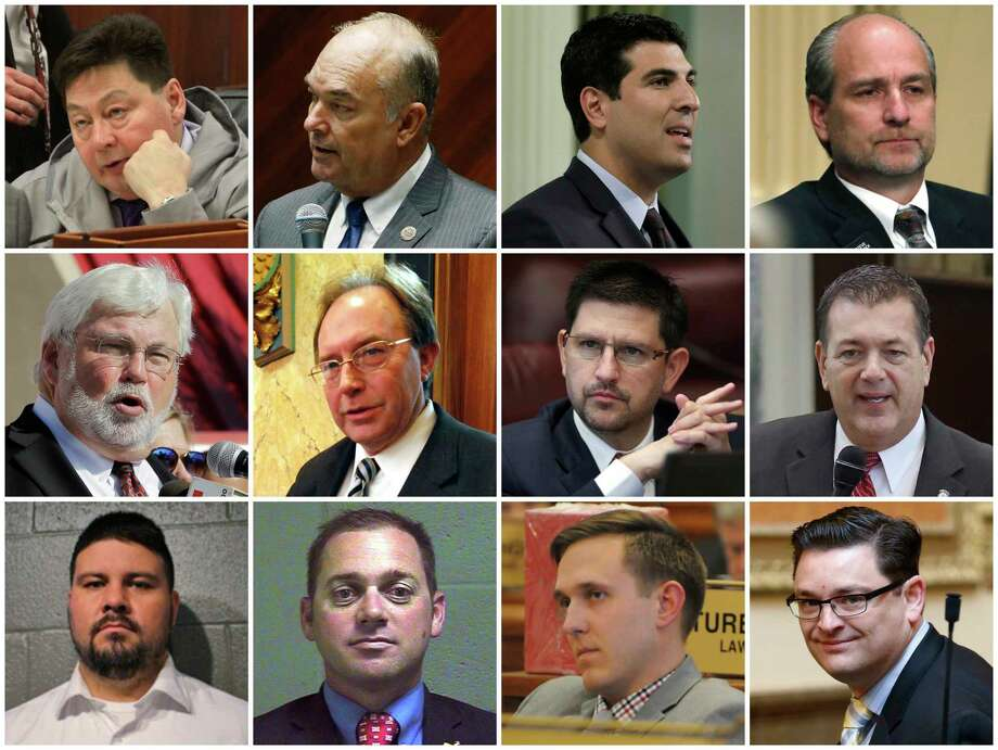 This combination of photos shows some of the two dozen state lawmakers across the country who have been accused of sexual harassment or misconduct since the start of 2017 and have resigned or been removed from office as of March 2018. Top row from left are Alaska Rep. Dean Westlake, Arizona Rep. Don Shooter, California Assemblyman Matt Dababneh and Colorado Rep. Steve Lebsock. Middle row from left are Florida Sen. Jack Latvala, Mississippi Rep. John Moore, Nevada Sen. Mark Manendo and Oklahoma Rep. Dan Kirby. Bottom row from left are Oklahoma Sen. Ralph Shortey, Oklahoma Sen. Bryce Marlatt, South Dakota Rep. Mathew Wollmann ann Utah Rep. Jon Stanard. Photo: AP / AP